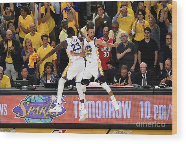Playoffs Wood Print featuring the photograph Draymond Green and Stephen Curry by Garrett Ellwood