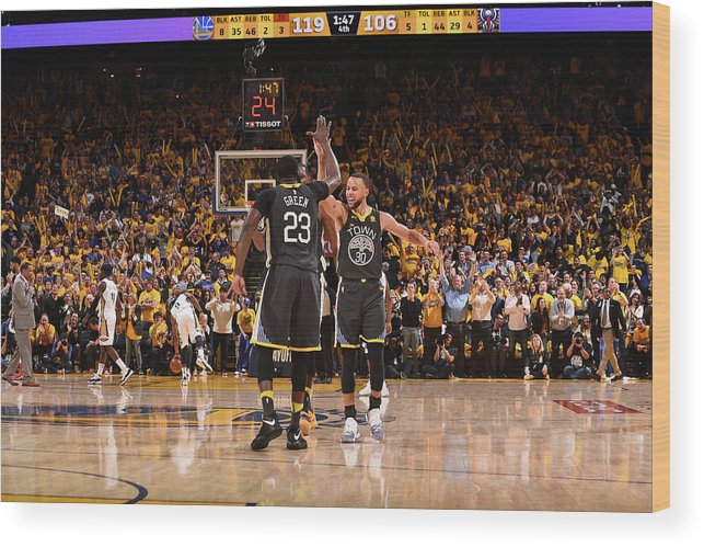Playoffs Wood Print featuring the photograph Draymond Green and Stephen Curry by Noah Graham