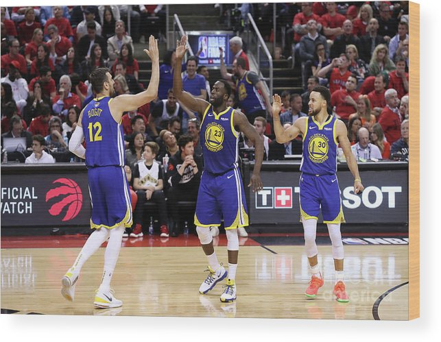 Playoffs Wood Print featuring the photograph Draymond Green, Stephen Curry, and Andrew Bogut by Joe Murphy