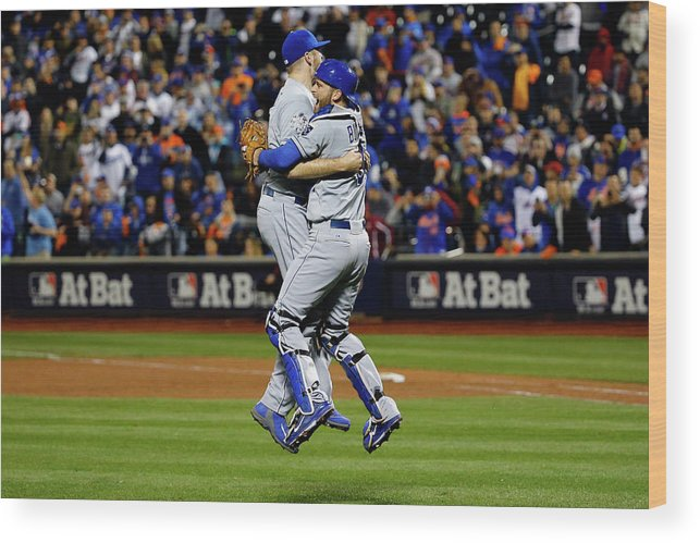 People Wood Print featuring the photograph Drew Butera and Wade Davis by Al Bello