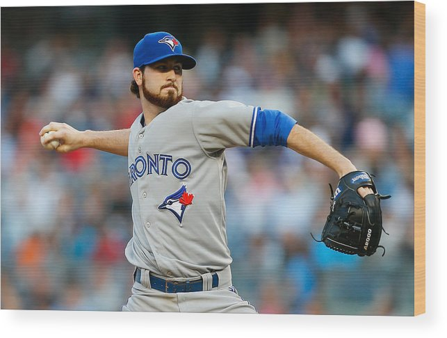 American League Baseball Wood Print featuring the photograph Drew Hutchison by Mike Stobe