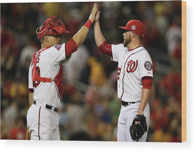 Drew Storen Wood Print featuring the photograph Drew Storen and Wilson Ramos by Patrick Smith