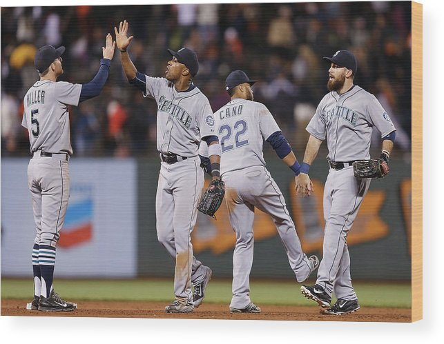 San Francisco Wood Print featuring the photograph Dustin Ackley, Austin Jackson, and Brad Miller by Lachlan Cunningham