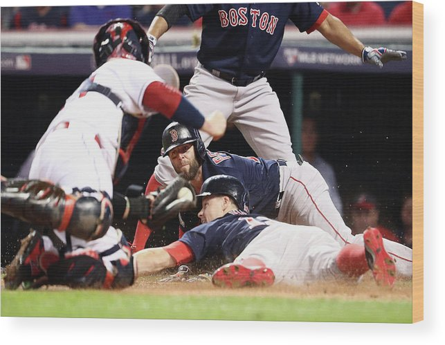 People Wood Print featuring the photograph Dustin Pedroia and Brock Holt by Maddie Meyer