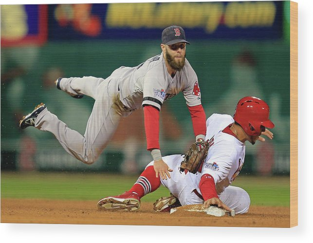 2nd Base Wood Print featuring the photograph Dustin Pedroia, Jon Jay, and David Freese by Dilip Vishwanat
