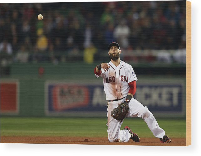 Playoffs Wood Print featuring the photograph Dustin Pedroia by Rob Carr