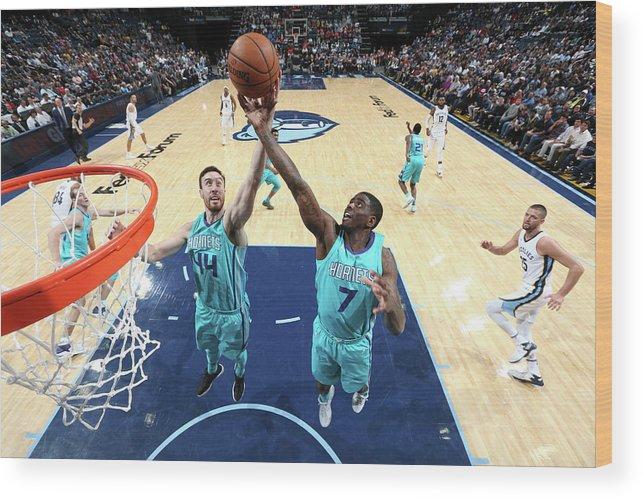 Nba Pro Basketball Wood Print featuring the photograph Dwayne Bacon and Frank Kaminsky by Joe Murphy