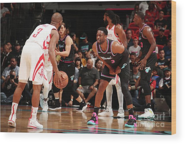 Nba Pro Basketball Wood Print featuring the photograph Dwyane Wade and Chris Paul by Issac Baldizon
