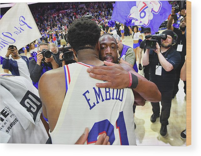 Playoffs Wood Print featuring the photograph Dwyane Wade and Joel Embiid by Jesse D. Garrabrant