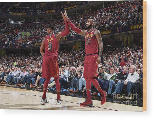 Nba Pro Basketball Wood Print featuring the photograph Dwyane Wade and Lebron James by David Liam Kyle