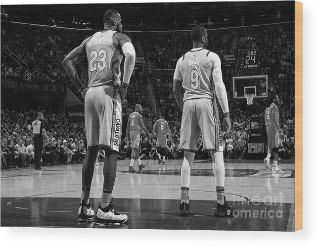 Nba Pro Basketball Wood Print featuring the photograph Dwyane Wade and Lebron James by Joe Murphy