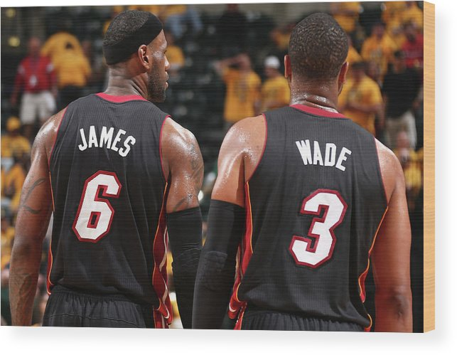 Playoffs Wood Print featuring the photograph Dwyane Wade and Lebron James by Nathaniel S. Butler