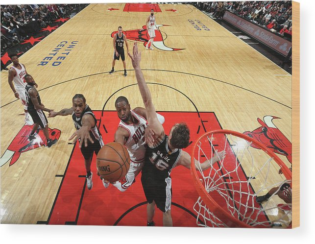 Nba Pro Basketball Wood Print featuring the photograph Dwyane Wade and Pau Gasol by Nathaniel S. Butler