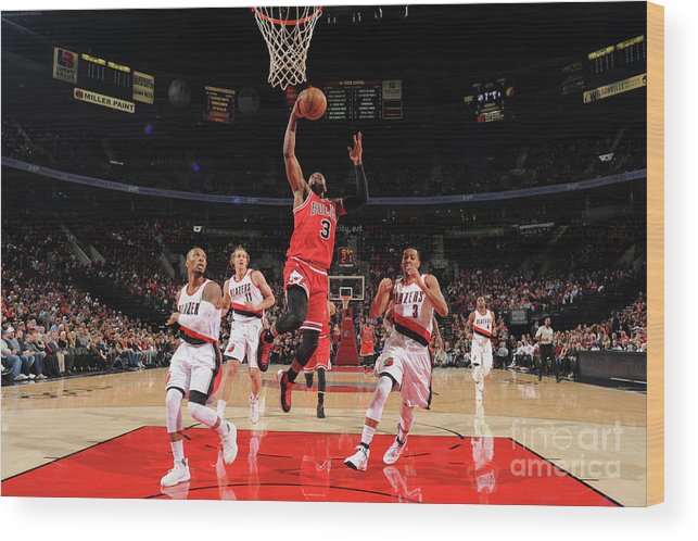 Nba Pro Basketball Wood Print featuring the photograph Dwyane Wade by Cameron Browne