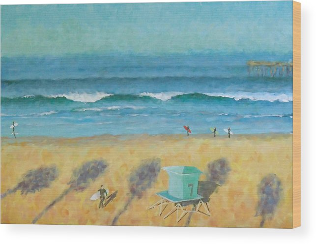 Life Guard Tower Wood Print featuring the painting Tower Number Seven by Philip Fleischer