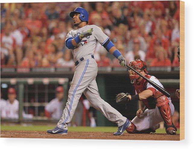 Great American Ball Park Wood Print featuring the photograph Edwin Encarnacion by Jamie Sabau