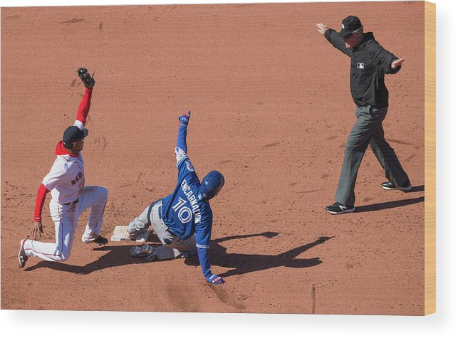 People Wood Print featuring the photograph Edwin Encarnacion by Michael Ivins/boston Red Sox