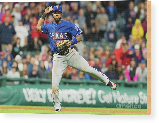 People Wood Print featuring the photograph Elvis Andrus and Francisco Lindor by Jason Miller