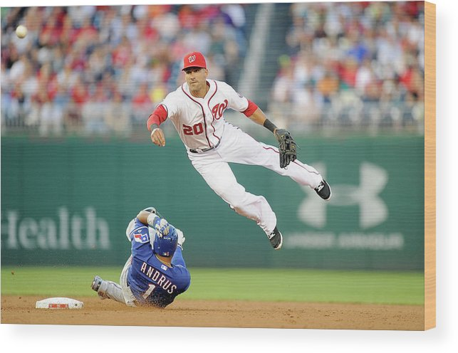 American League Baseball Wood Print featuring the photograph Elvis Andrus and Ian Desmond by Greg Fiume