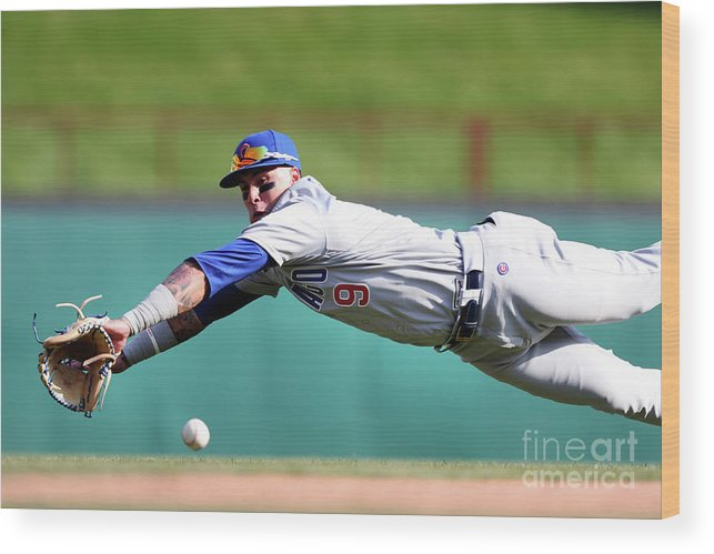 Three Quarter Length Wood Print featuring the photograph Elvis Andrus And Javier Baez by Tom Pennington