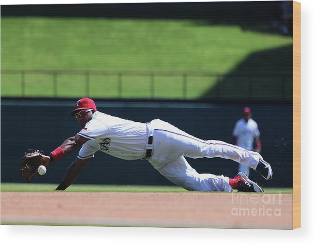 Second Inning Wood Print featuring the photograph Elvis Andrus and Logan Forsythe by Tom Pennington