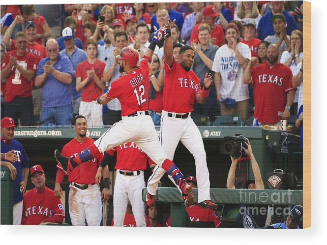 Second Inning Wood Print featuring the photograph Elvis Andrus and Rougned Odor by Ron Jenkins
