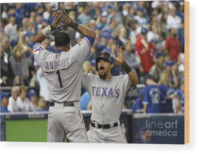 Game Two Wood Print featuring the photograph Elvis Andrus and Rougned Odor by Tom Szczerbowski