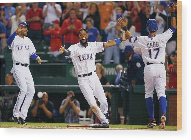 Ninth Inning Wood Print featuring the photograph Elvis Andrus and Shin-soo Choo by Tom Pennington