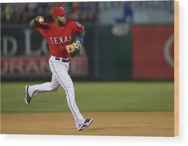 American League Baseball Wood Print featuring the photograph Elvis Andrus by Cooper Neill