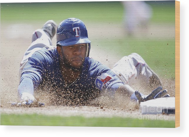 American League Baseball Wood Print featuring the photograph Elvis Andrus by Gregory Shamus