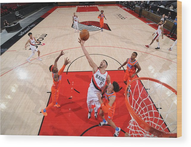 Nba Pro Basketball Wood Print featuring the photograph Enes Kanter by Cameron Browne