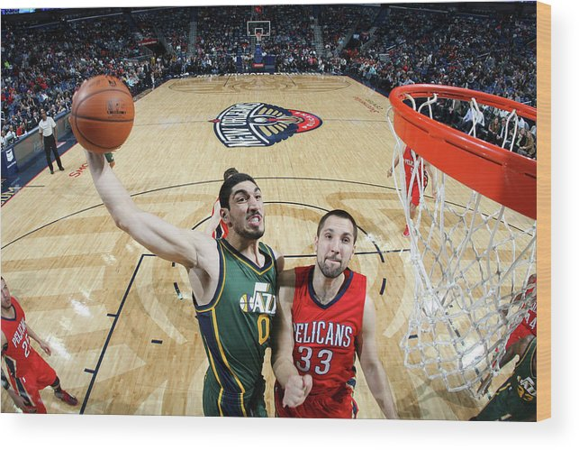 Smoothie King Center Wood Print featuring the photograph Enes Kanter by Layne Murdoch