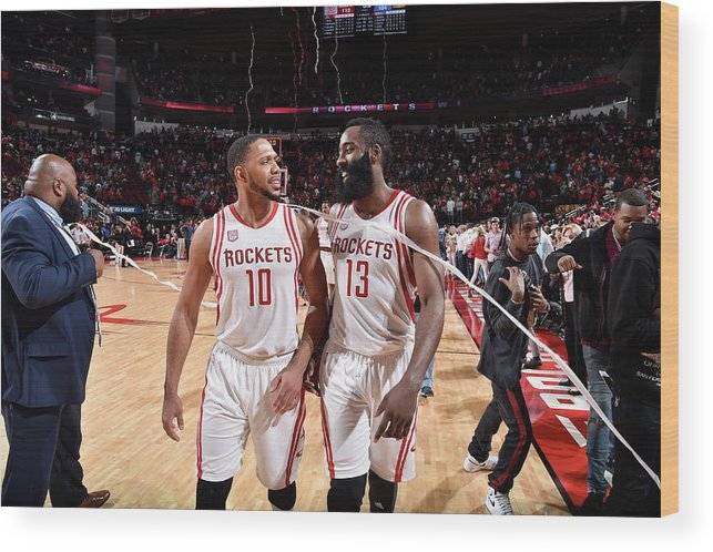 Nba Pro Basketball Wood Print featuring the photograph Eric Gordon and James Harden by Bill Baptist