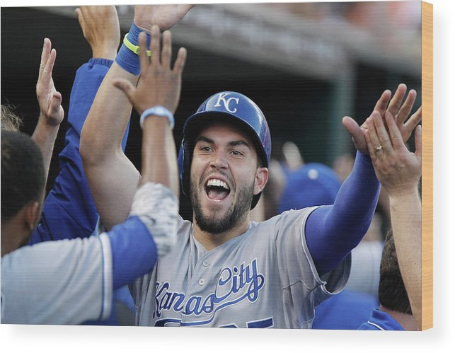 American League Baseball Wood Print featuring the photograph Eric Hosmer and Billy Butler by Duane Burleson