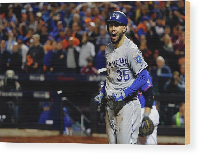 Salvador Perez Diaz Wood Print featuring the photograph Eric Hosmer and Jeurys Familia by Al Bello