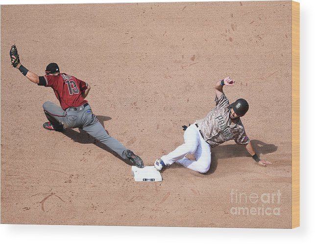 People Wood Print featuring the photograph Eric Hosmer and Nick Ahmed by Andy Hayt