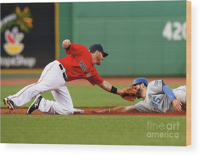 American League Baseball Wood Print featuring the photograph Eric Hosmer and Stephen Drew by Jared Wickerham