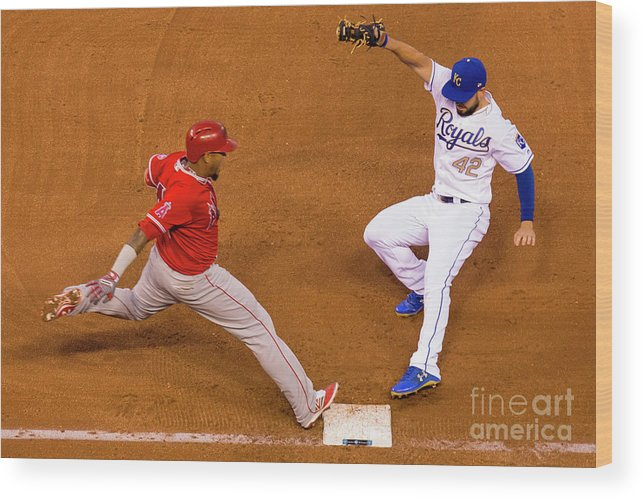 People Wood Print featuring the photograph Eric Hosmer and Yunel Escobar by Kyle Rivas