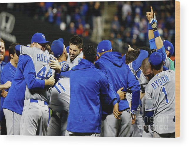 People Wood Print featuring the photograph Eric Hosmer, Drew Butera, and Wade Davis by Al Bello
