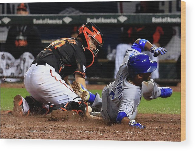 Ninth Inning Wood Print featuring the photograph Eric Hosmer, Nick Hundley, and Alcides Escobar by Rob Carr
