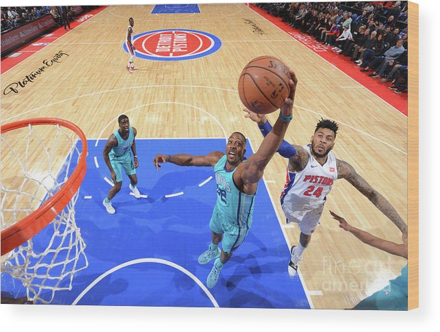 Nba Pro Basketball Wood Print featuring the photograph Eric Moreland and Dwight Howard by Jesse D. Garrabrant