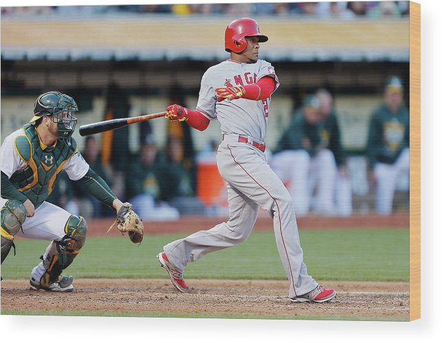 Following Wood Print featuring the photograph Erick Aybar and Stephen Vogt by Brian Bahr