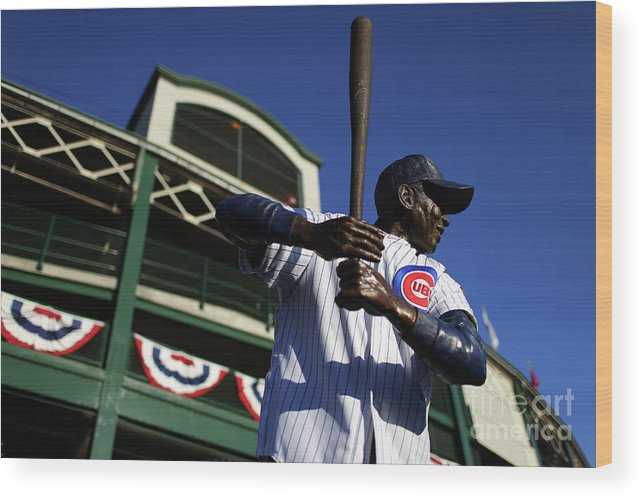 Playoffs Wood Print featuring the photograph Ernie Banks by Alex Trautwig