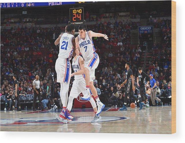 Nba Pro Basketball Wood Print featuring the photograph Ersan Ilyasova and Joel Embiid by Jesse D. Garrabrant
