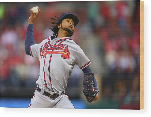 St. Louis Wood Print featuring the photograph Ervin Santana by Dilip Vishwanat