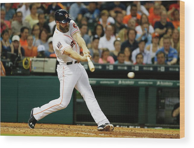 Evan Gattis Wood Print featuring the photograph Evan Gattis by Scott Halleran