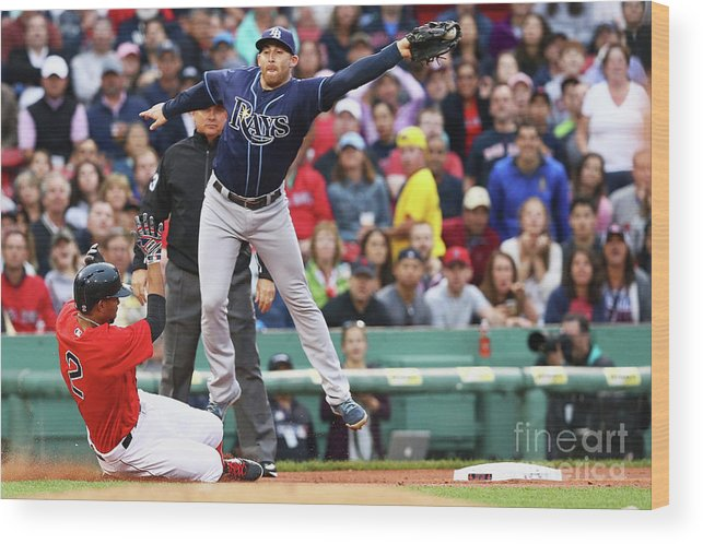 People Wood Print featuring the photograph Evan Longoria and Xander Bogaerts by Maddie Meyer