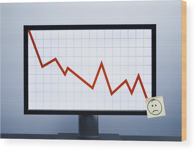 Defeat Wood Print featuring the photograph Falling financial graph by Jorg Greuel