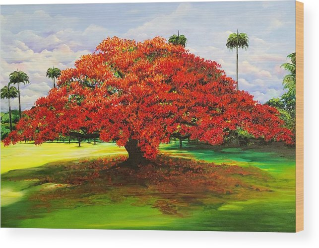 Flamboyant Tree Wood Print featuring the painting Flamboyant Ablaze by Karin Dawn Kelshall- Best