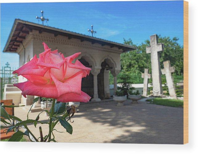 Bucharest Wood Print featuring the photograph Flower by a Monastery Shrine - Bucharest, Romania by Barry O Carroll